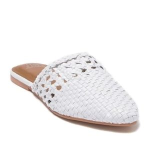 Sam Edelman Navya White Leather Woven Mules